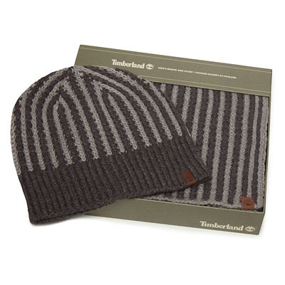 Ribbed+Muffler+and+Hat+Gift+Set+for+Men+in+Grey