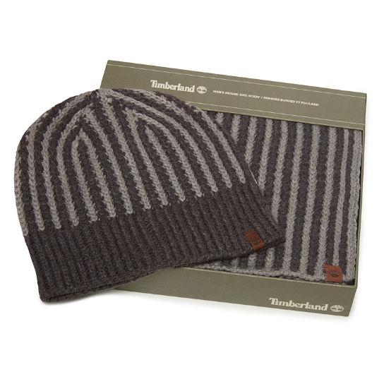 Coffret cadeau écharpe et bonnet côtelés pour homme en gris   Timberland 231a4c5fc31