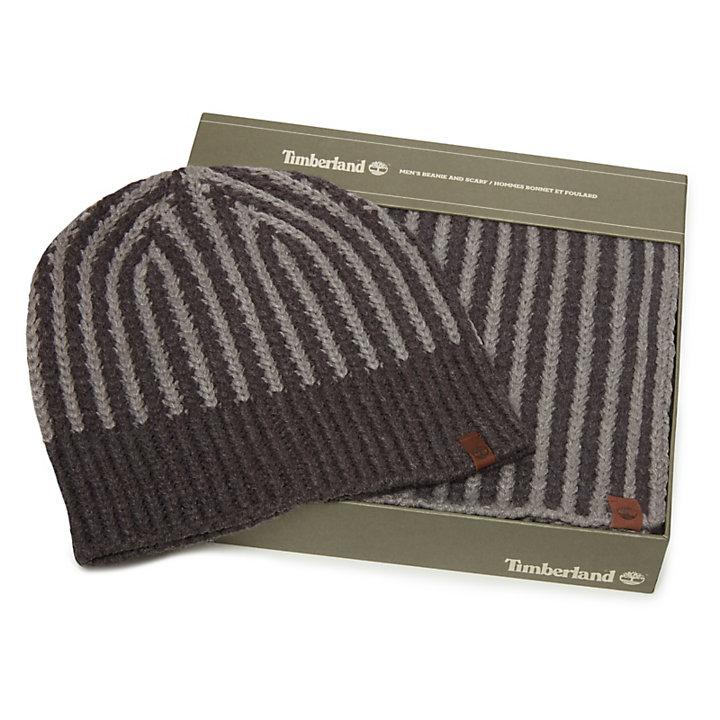 e127fbcc145 Coffret cadeau écharpe et bonnet côtelés pour homme en gris