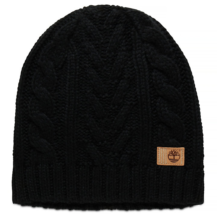 Cable Beanie Hat for Women in Black-