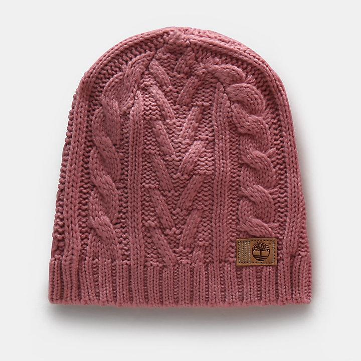 Bonnet en maille torsadée pour femme en rose-
