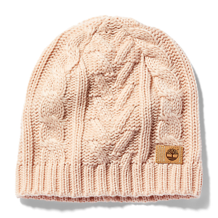 Cable-knit Winter Beanie for Women in Pink-