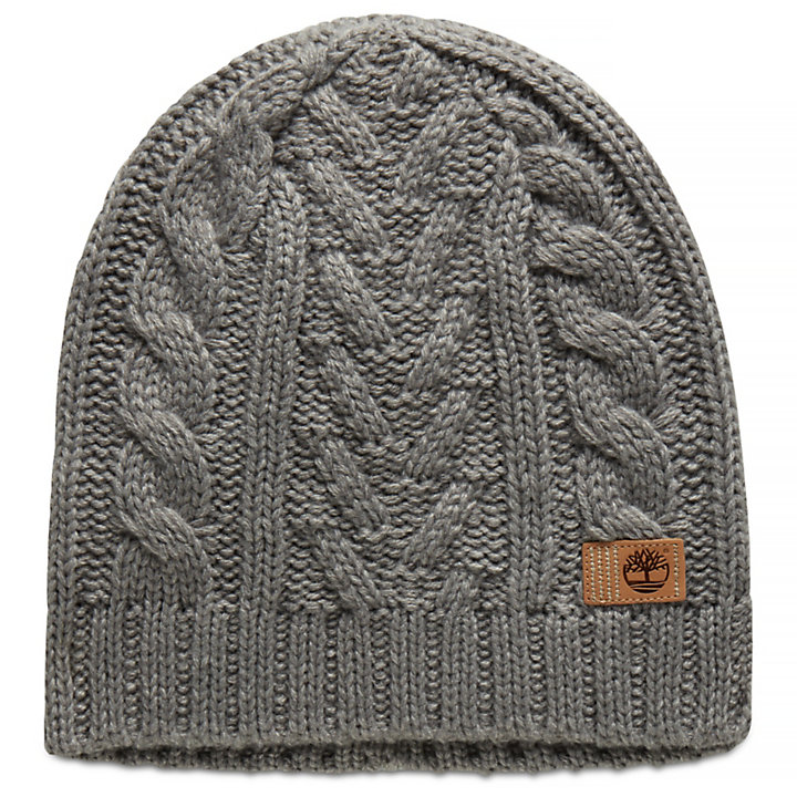Cable Beanie Hat for Women in Grey-