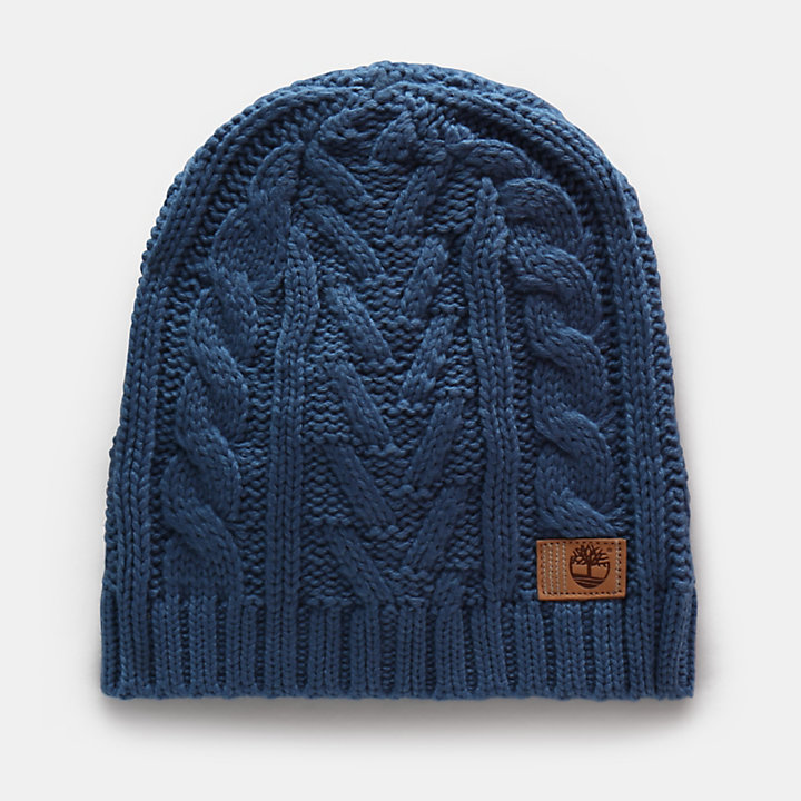 Cable Beanie Hat for Women in Blue-