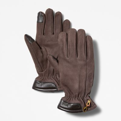 Nubuck+Touch+Tip+Gloves+for+Men+in+Brown