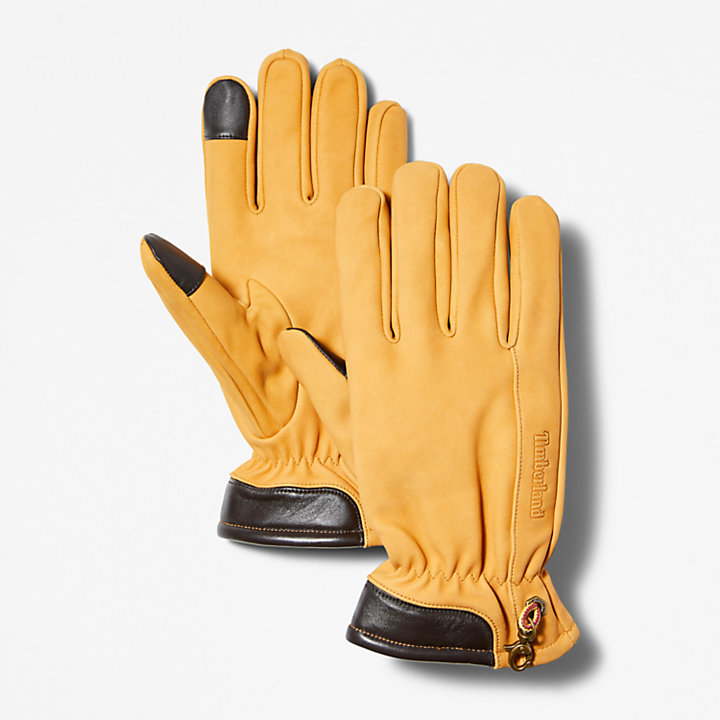 Nubuck Touchscreen Gloves for Men in Yellow-