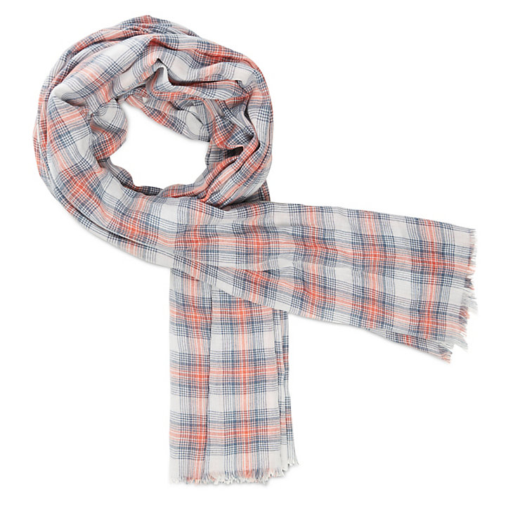 Plaid Scarf for Men in Indigo/Red-