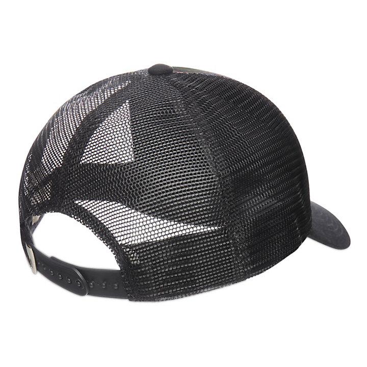 Printed Trucker Hat for Men in Black-