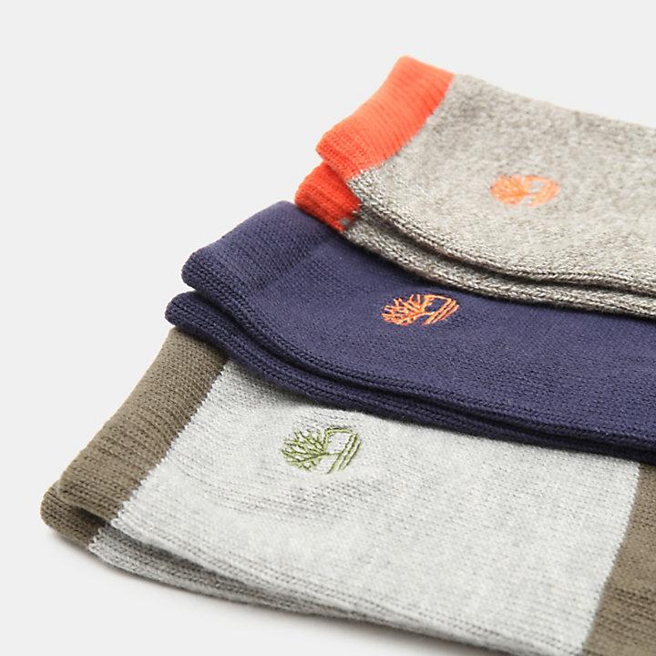 Coffret cadeau trois paires de chaussettes pour homme en vert-