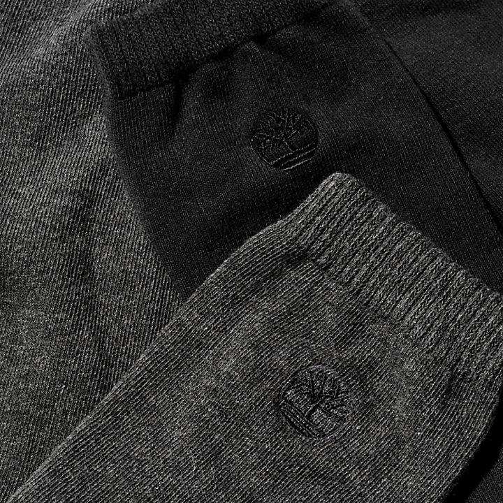 Two Pair Everyday Crew Socks for Men in Grey/Black-