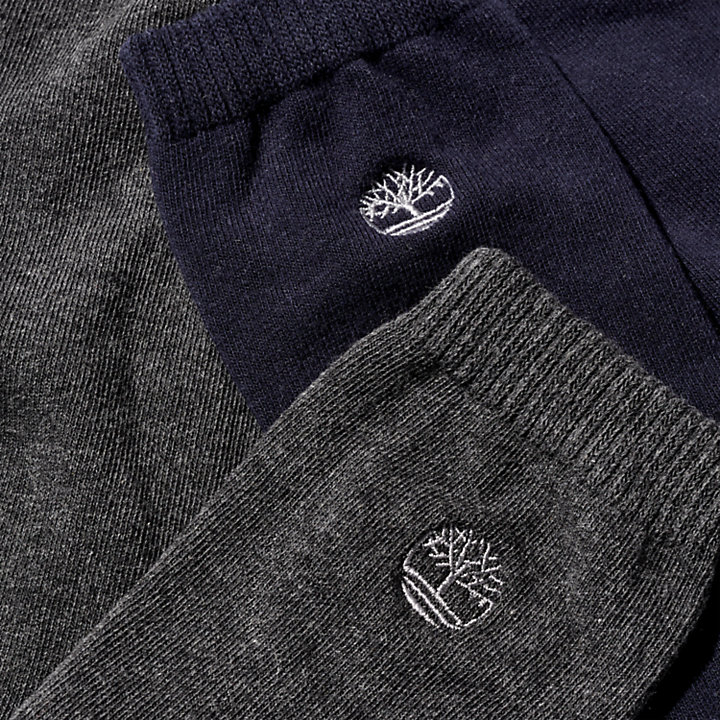 Two Pair Everyday Crew Socks for Men in Blue/Grey-