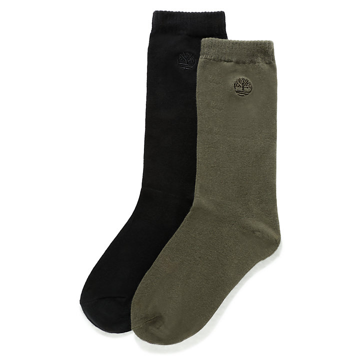 Two Pair Everyday Crew Socks for Men in Green-