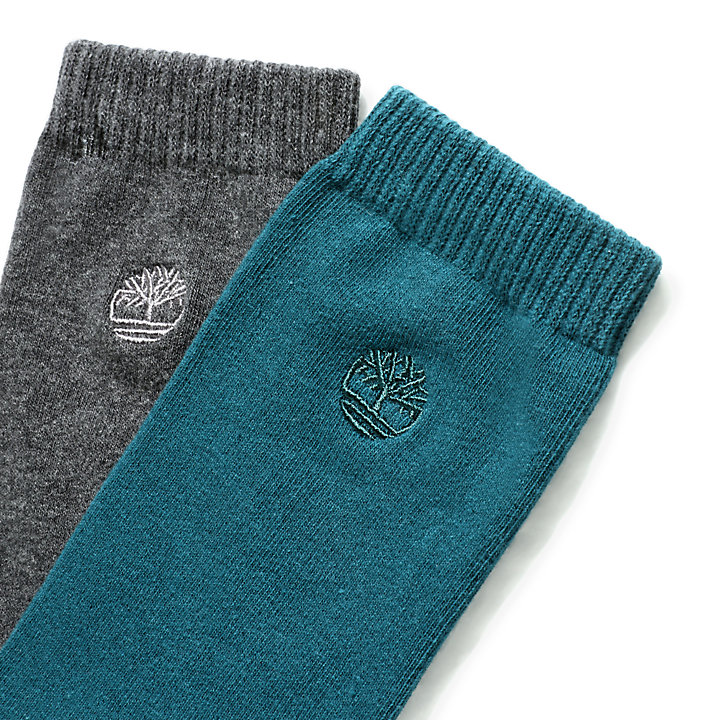 Two Pair Everyday Crew Socks for Men in Teal/Grey-