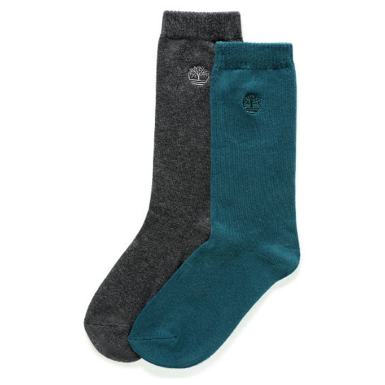 Two Pair Everyday Crew Socks for Men in Teal/Grey | Timberland