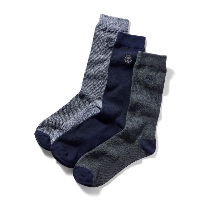 Three+Pair+Pique+Crew+Socks+for+Men+in+Blue