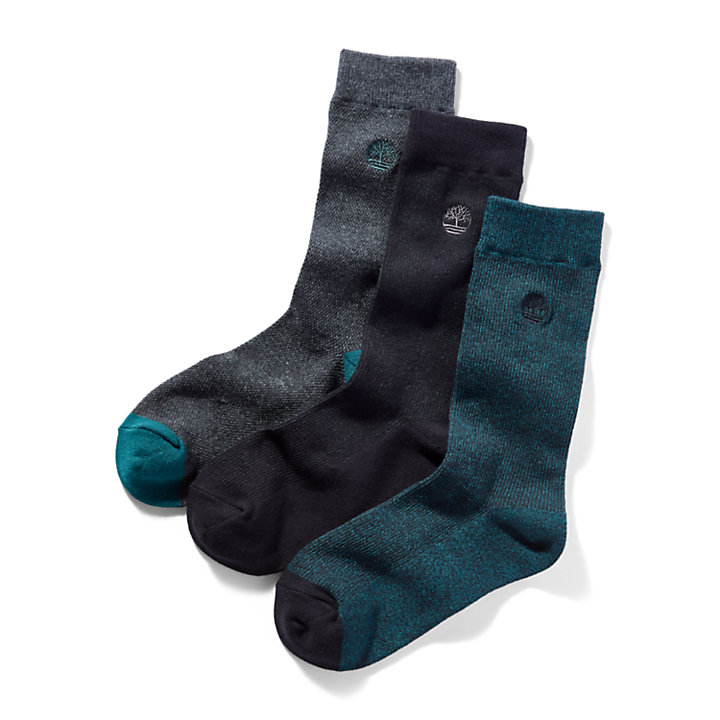 Three Pair Pique Crew Socks for Men in Blue-