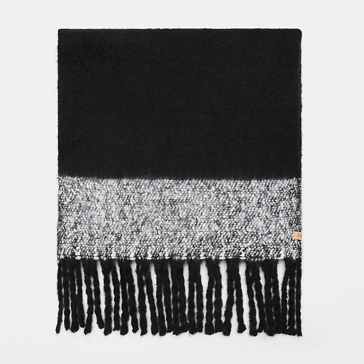 Colour Block Blanket Scarf for Women in Black-