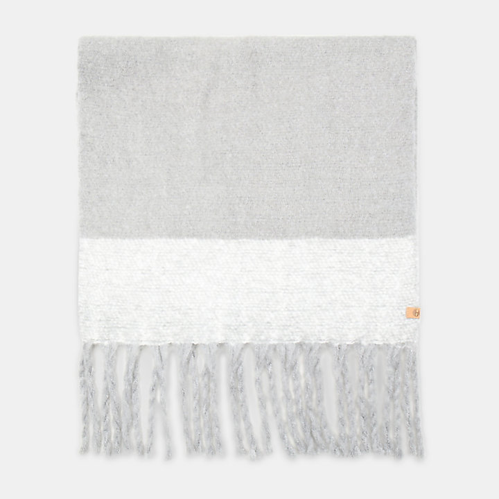 Colour Block Blanket Scarf for Women in Light Grey-