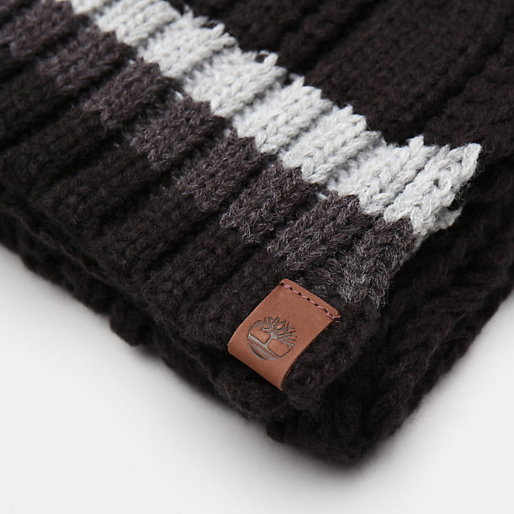 Cable Knitted Scarf for Men in Black-