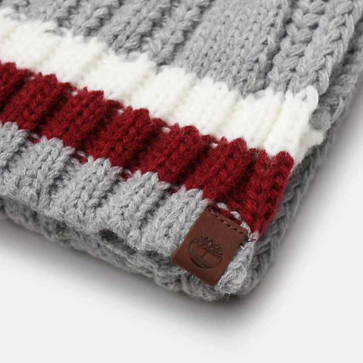 Cable Knitted Scarf for Men in Light Grey-
