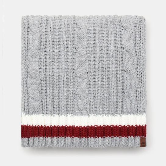 Cable Knitted Scarf for Men in Light Grey | Timberland