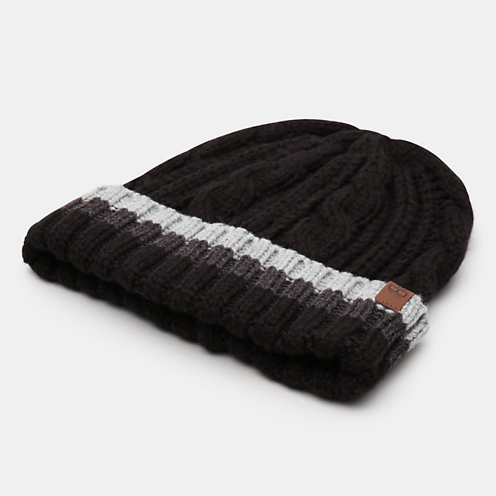 Island Pond Cable Knit Beanie for Men in Black-