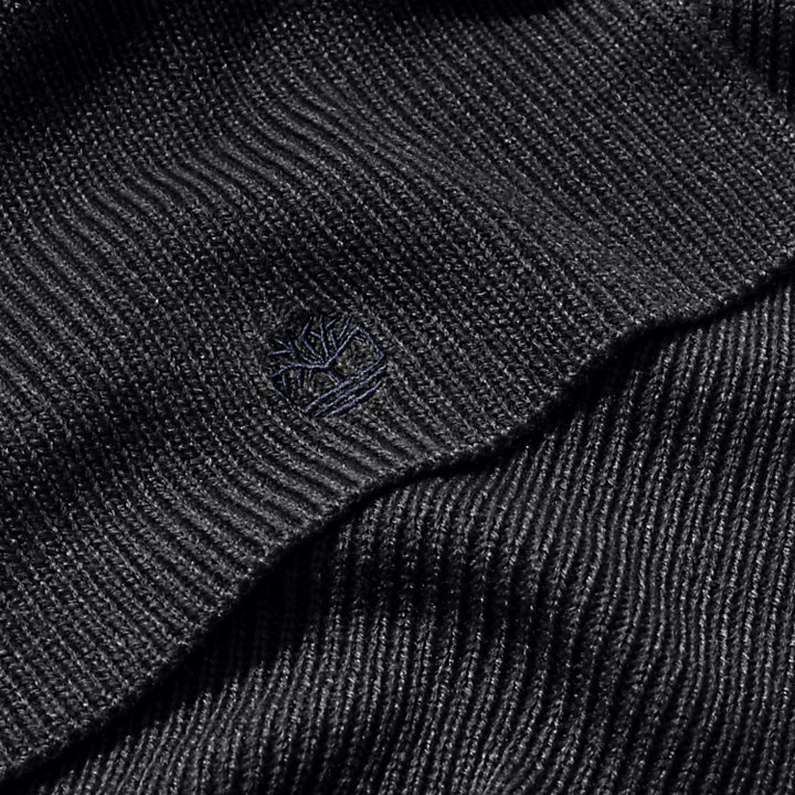 Ribbed Scarf for Men in Black-