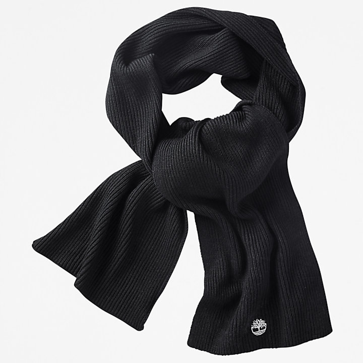Essential Ribbed Scarf for Men in Black-