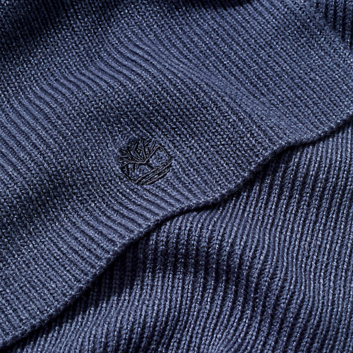 Essential Ribbed Scarf for Men in Navy-
