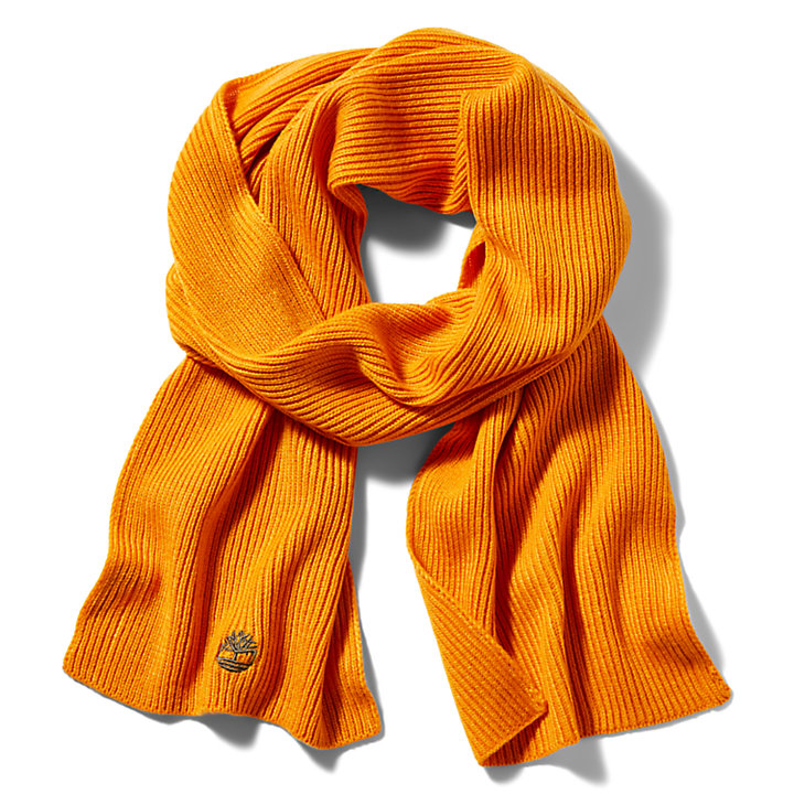 Essential Ribbed Scarf for Men in Orange-