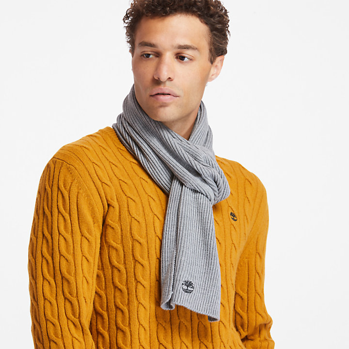 Essential Ribbed Scarf for Men in Grey-
