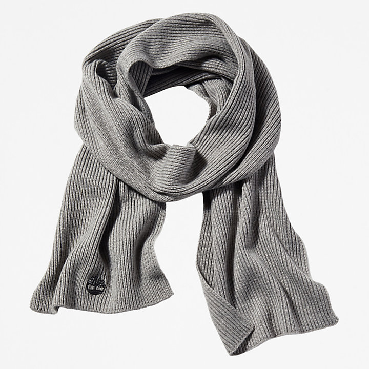 Ribbed Scarf for Men in Light Grey-