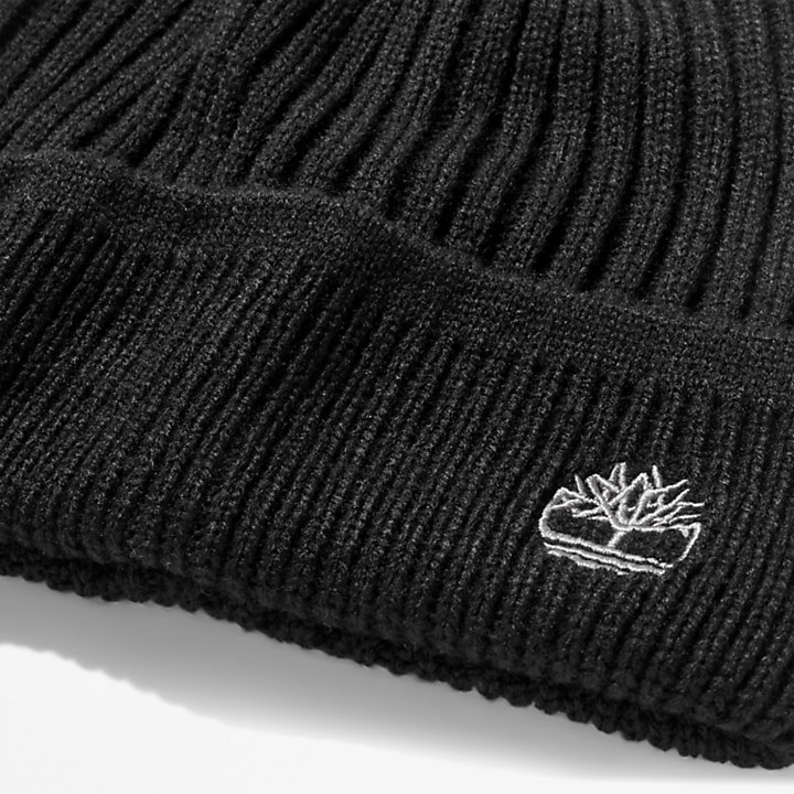 Ribbed Knit Beanie for Men in Black-
