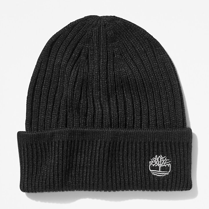 Ribbed Beanie in Black-