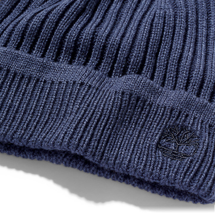 Ribbed Knit Beanie for Men in Navy-