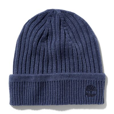 Ribbed+Knit+Beanie+voor+Heren+in+marineblauw