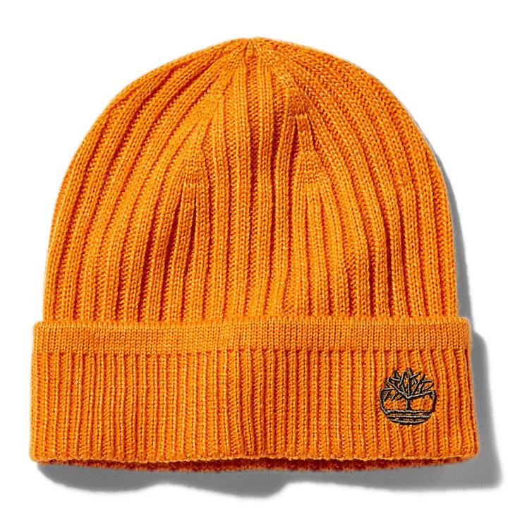 Bonnet en maille côtelée pour homme en orange-