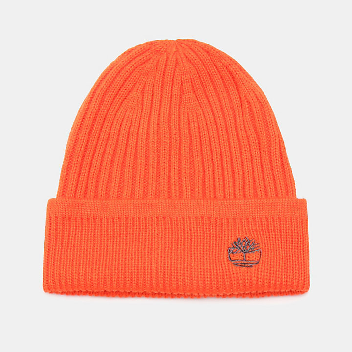Ribbed Beanie in Orange-
