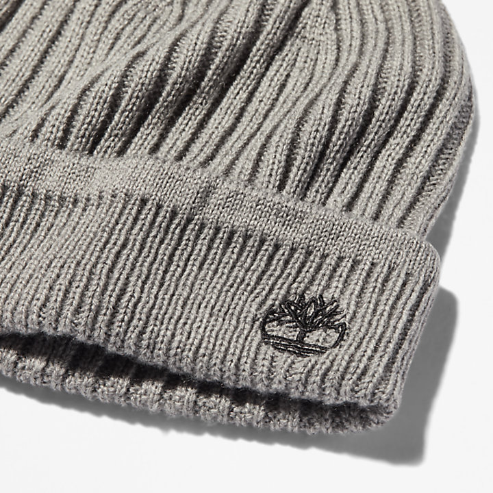 Ribbed Knit Beanie for Men in Grey-
