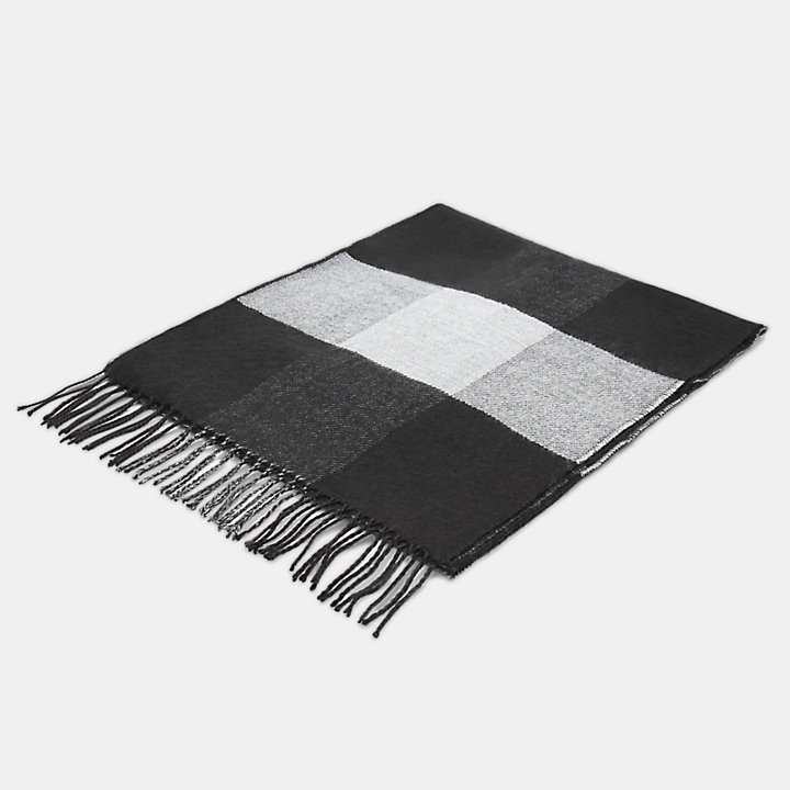 Buffalo Check Scarf for Men in Black-