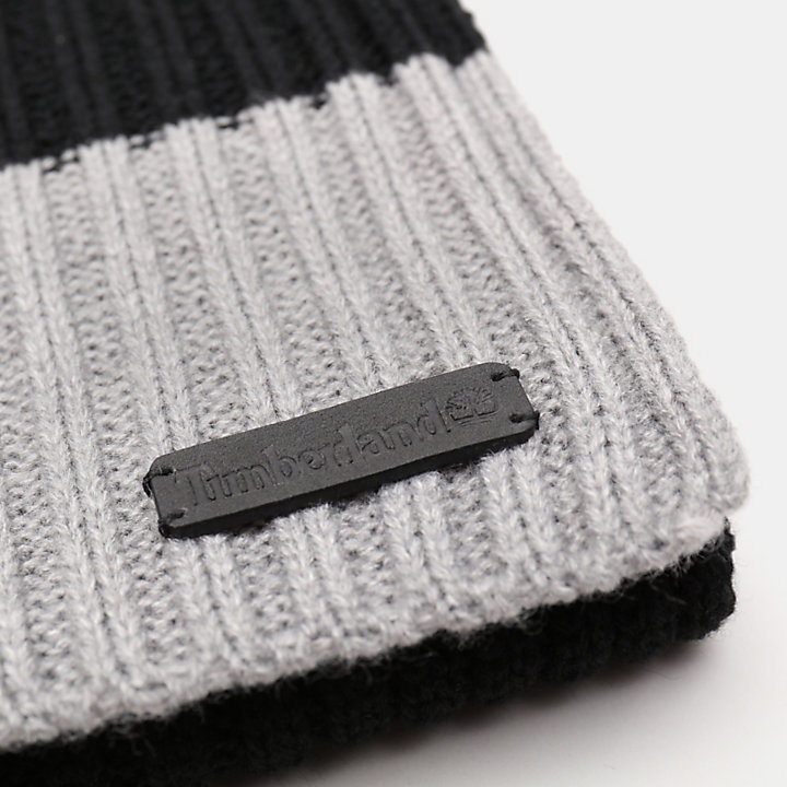 Ribbed Beanie and Scarf Gift Set for Men in Black-