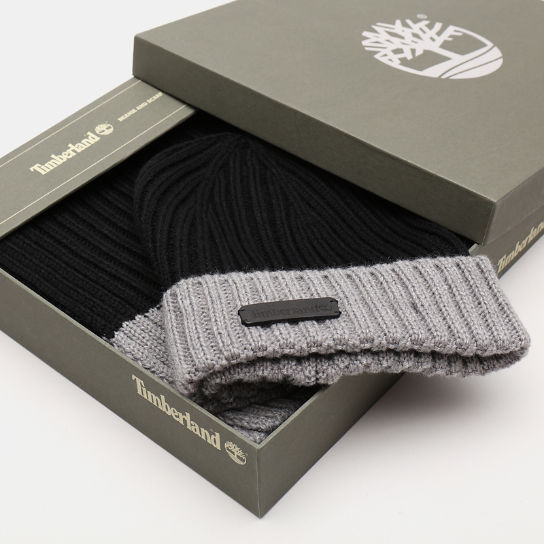 Ribbed Beanie and Scarf Gift Set for Men in Black | Timberland