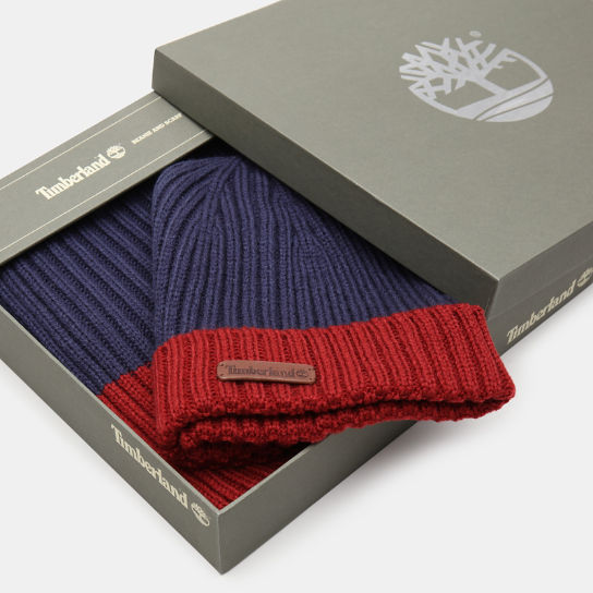 Ribbed Beanie and Scarf Gift Set for Men in Navy | Timberland