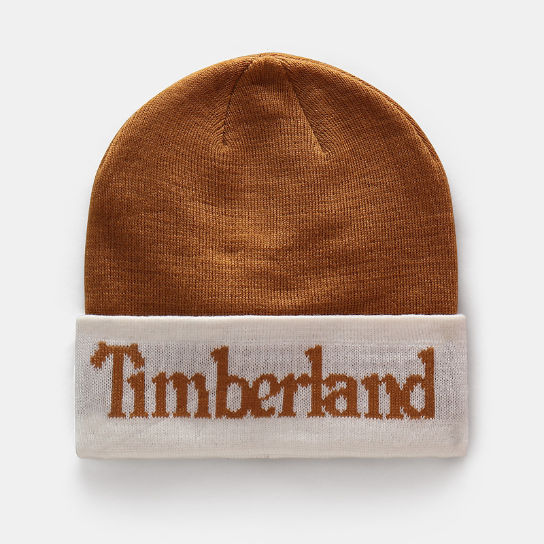 Cuffed Logo Beanie for Men in Yellow | Timberland