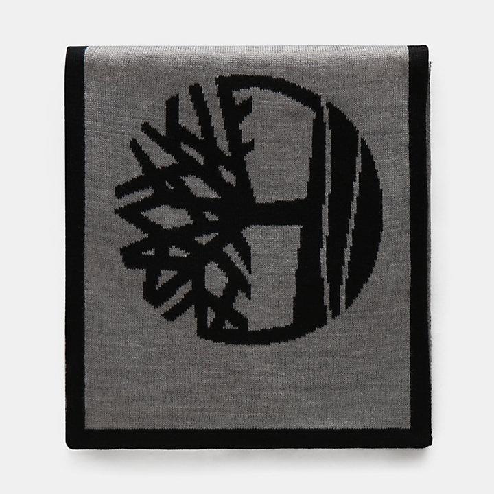 Jacquard Logo Scarf for Men in Grey-