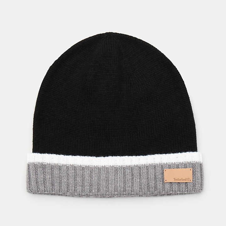 Colour Block Cuff Beanie for Women in Black-