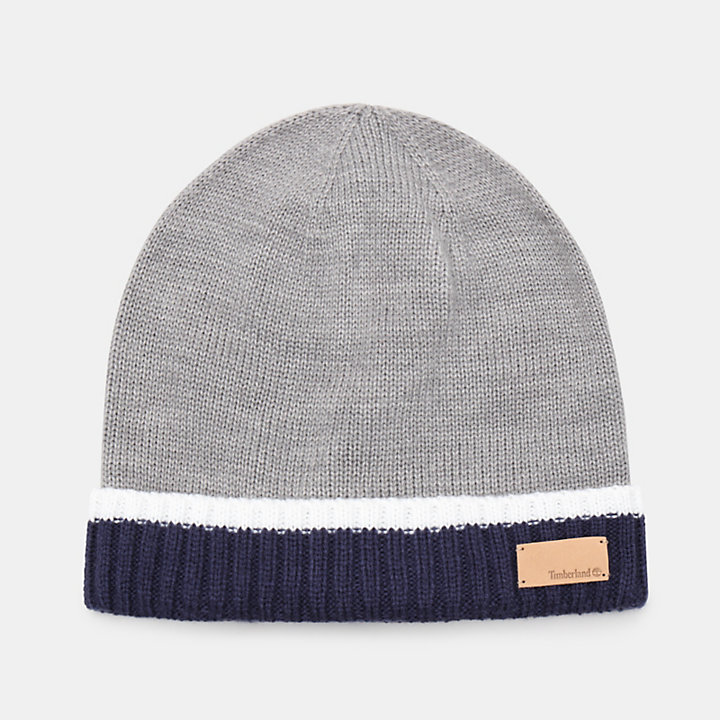 Colour Block Cuff Beanie for Women in Navy-