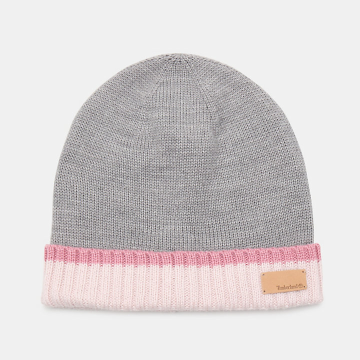 Colour Block Cuff Beanie for Women in Pink-