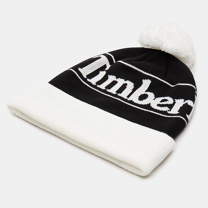 Bonnet à pompon pour homme en noir-