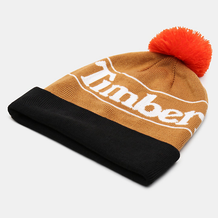 Pom Beanie for Men in Yellow-